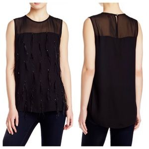 Vince Camuto Feather Tassels Sheer Yoke Top Medium
